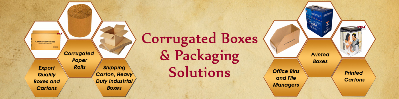 corrugated boxes and rolls